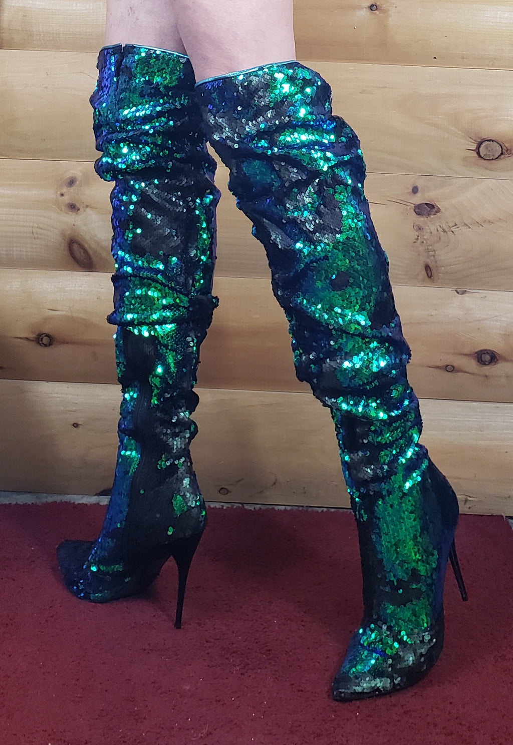 "3011 Over Knee Scrunch Boots Green Mermaid Sequin 5"" Stiletto Heel 6 - 14"