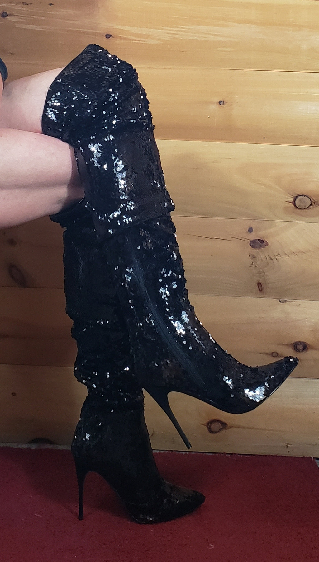 Black Sequin Thigh high boots