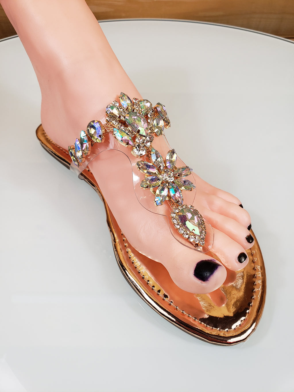 caf01867ad73 On Sale Bella Luna Flong 01 Rhinestone Jeweled Flat Summer Sandal Shoe Gold
