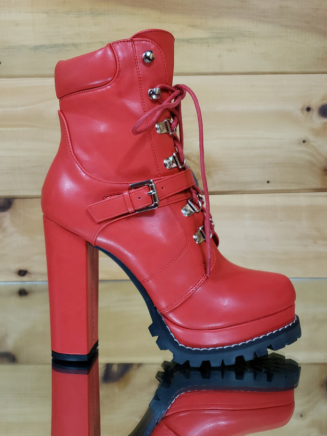 "Liliana Red Lace Up 4.75"" Chunky Heel Lug Sole Platform Ankle Boots"