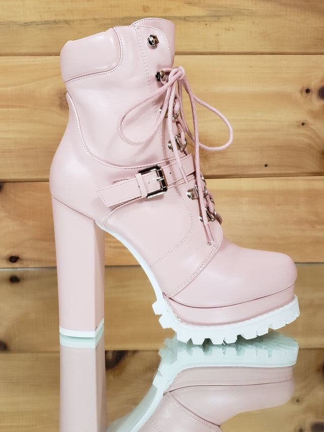 "Liliana Blush Pink Lace Up 4.75"" Chunky Heel Lug Sole Platform Ankle Boots"