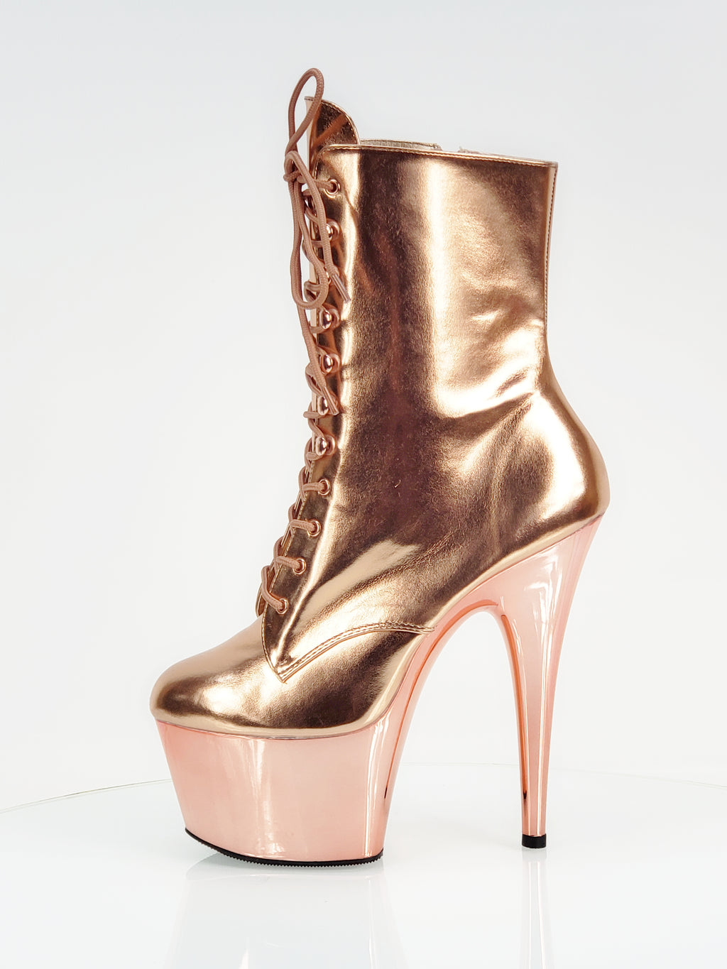 "Adore 1020 Rose Gold Lace Up Ankle Boots- 7"" High Heels"