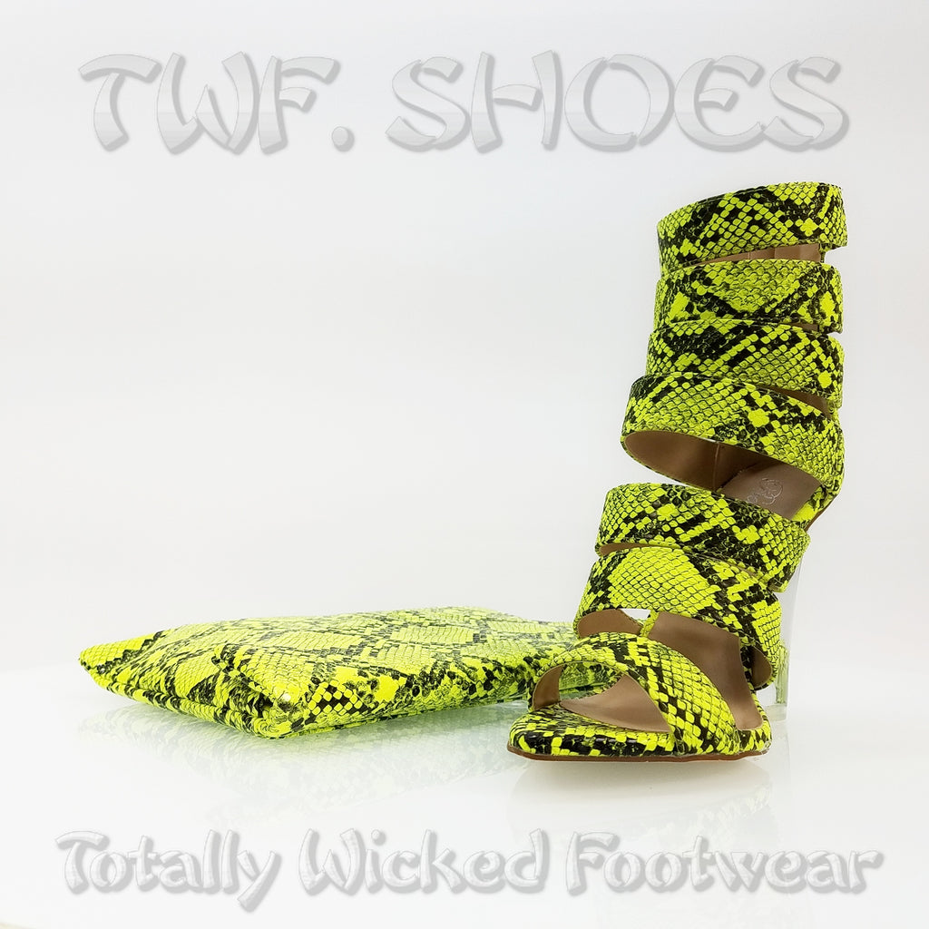 "Kenya Open Strap Lime Snake Clear Wedge 4"" High Heel Ankle Boot Shoe"