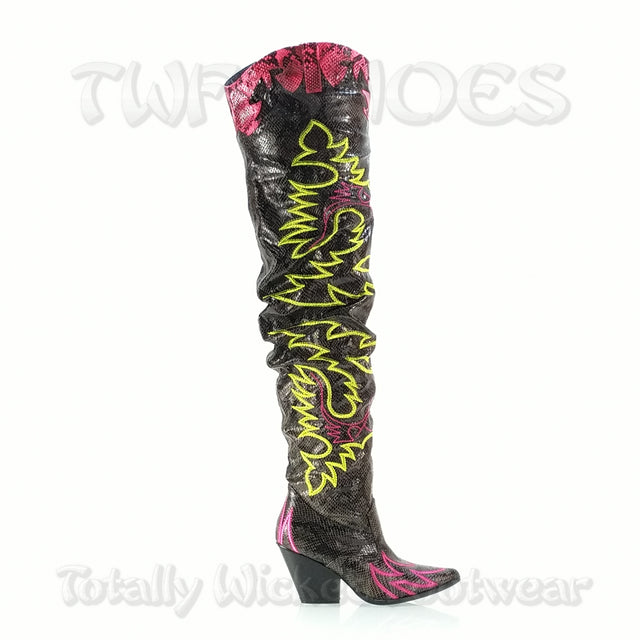 CR Kelsey 21 Rock Star Black & Neon Western Slouch OTK Thigh High Cowboy Boot