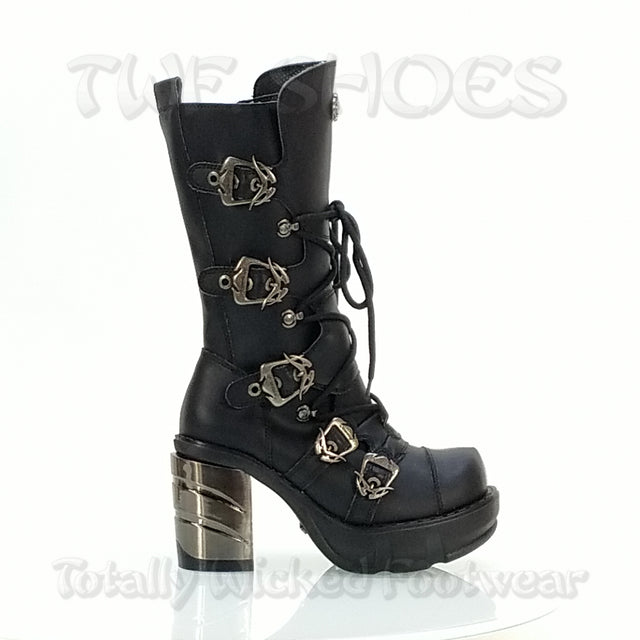Sinister 203 Multi Buckle Chrome Chunk Heel Boot - Totally Wicked Footwear
