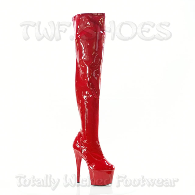 "Adore 3000 Glossy Red Stretch Over The Knee Platform Thigh Boot 7"" Heels"
