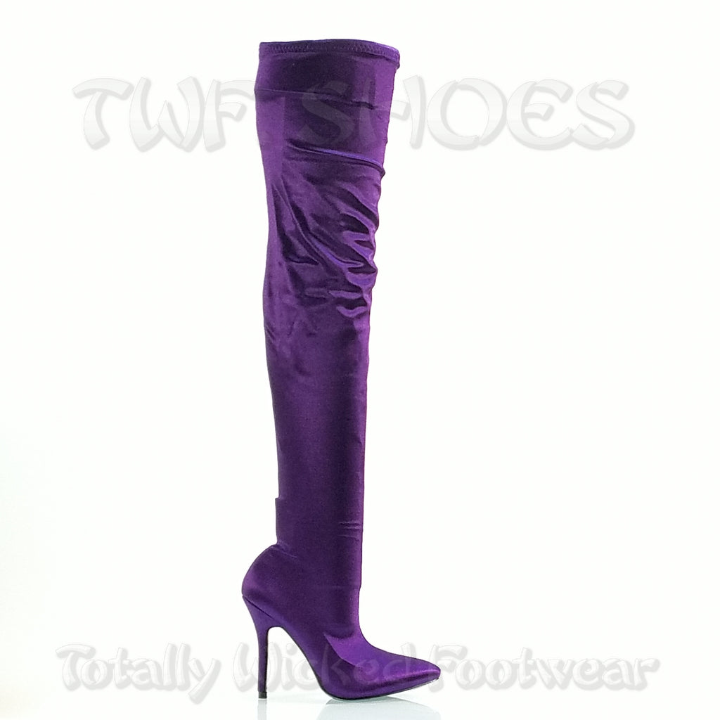 "Mac J Purple Stretch OTK Thigh Stocking 4"" High Heel OTK Over The Knee Boots"