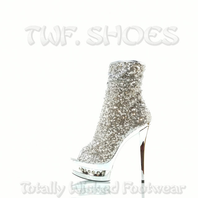 "Blondie R 1008 Sequin Silver Rhinestone Platform - 6"" High Heel Ankle Boots - Totally Wicked Footwear"