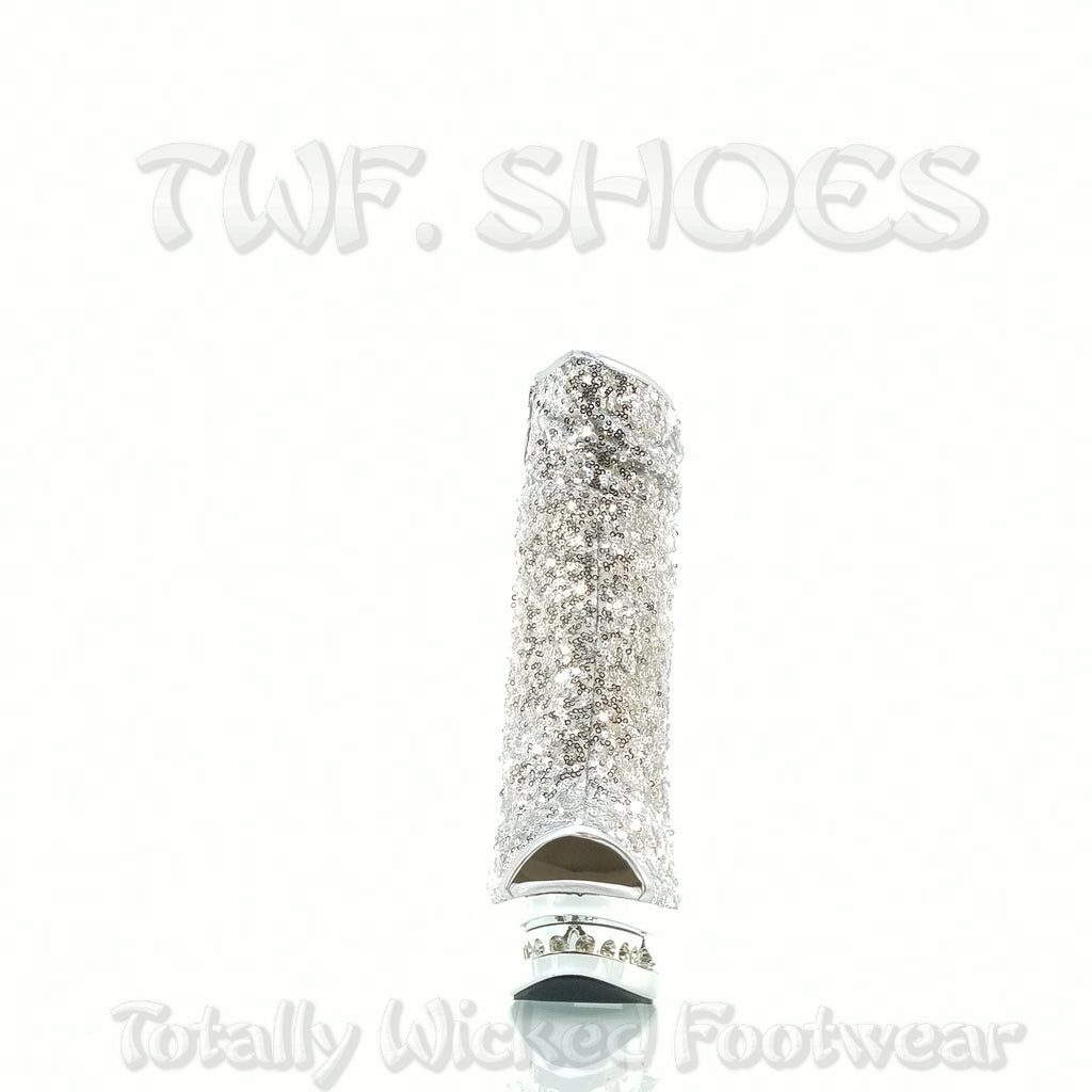 "Silver 1008 Sequin Open Toe Rhinestone Platform - 6"" High Heel Ankle Boots"