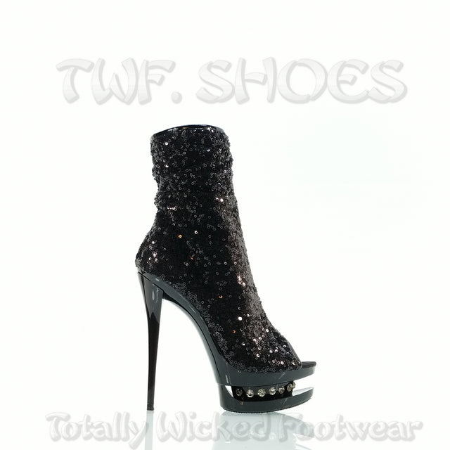"Black 1008 Sequin Open Toe Rhinestone Platform - 6"" High Heel Ankle Boots"