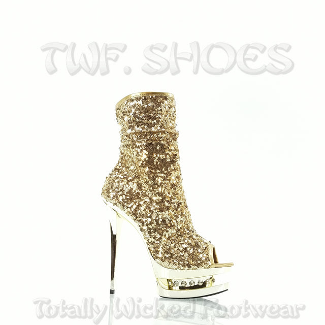 "Blondie R 1008 Gold Sequin Rhinestone Platform - 6"" High Heel Ankle Boots - Totally Wicked Footwear"