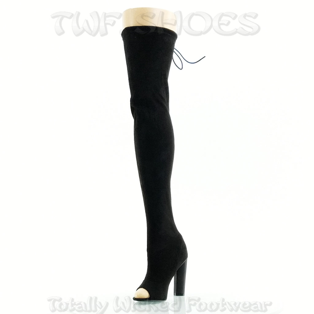"So Me Kate 2 Open Toe Stretch Stocking OTK Thigh Boot 4"" Chunky Heel Black FX Suede"