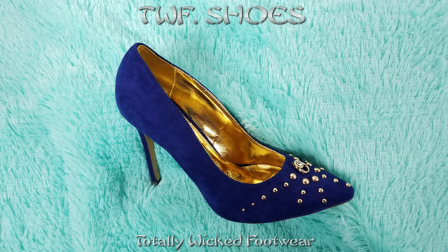 Mona Mia Geraldina Blue Studded Pointy Toe High Heels Pump Shoe
