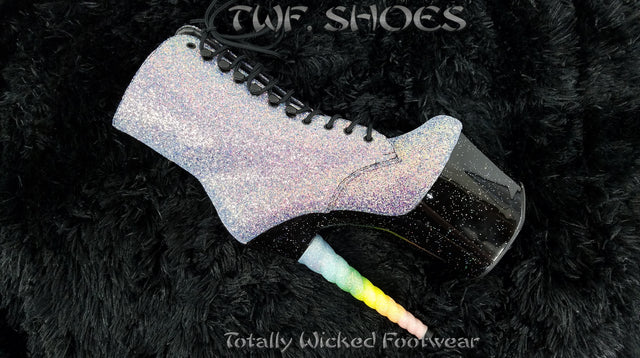 "Unicorn 1020G Multi UV Glitter Rainbow 7"" High Heel Platform Ankle Boots"