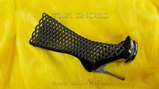 "Fantasia 2008 Cutout Suede Rhinestone Boot 6"" Stiletto Dual Stacked Platform"