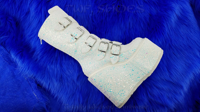 "Swing 230G White Multi Glitter Mid Calf Boot 5.5"" Platform Heart Strap Goth"