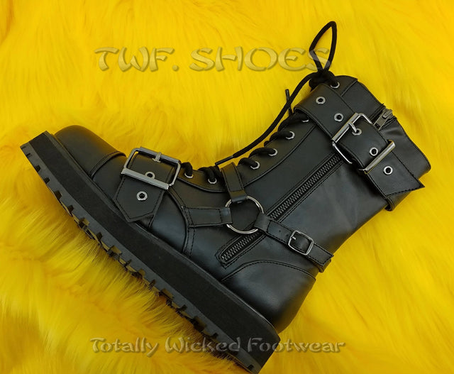 Valor 220 Black Vegan Leather Buckle Harness Strap Mid Calf Boot