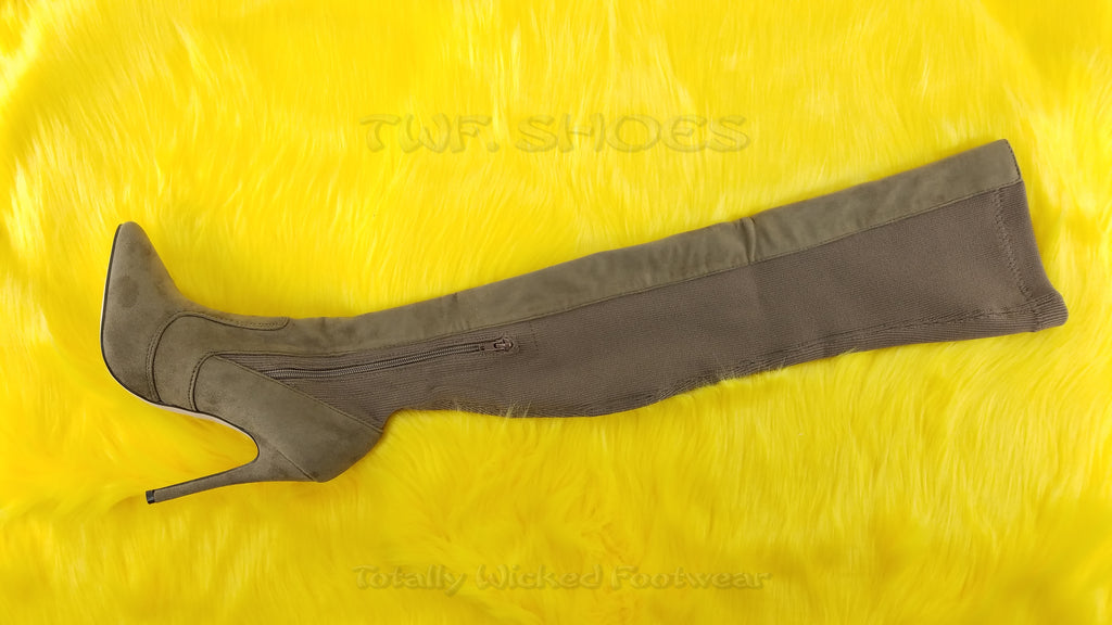 C&C Taupe Stretch Knit & Vegan Suede Above Knee High Heel Thigh Boot