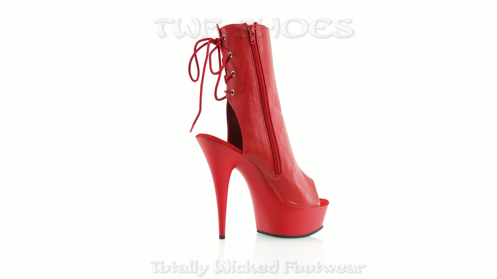 "Delight 1018 Red Matte Platform 6"" High Heel Ankle Boots Size 6 - 14"