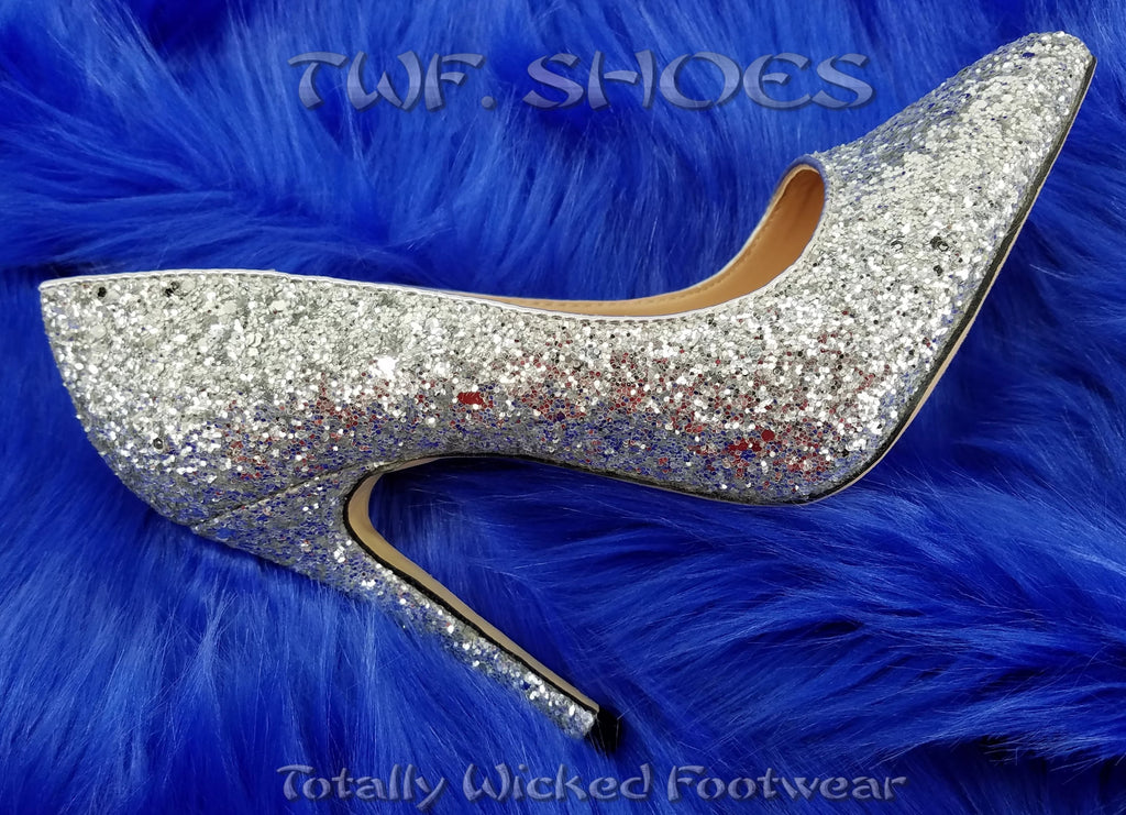 "Monica 100 Silver Glitter 4"" High Heel Shoes Pointy Toe Pump 6.5-11"