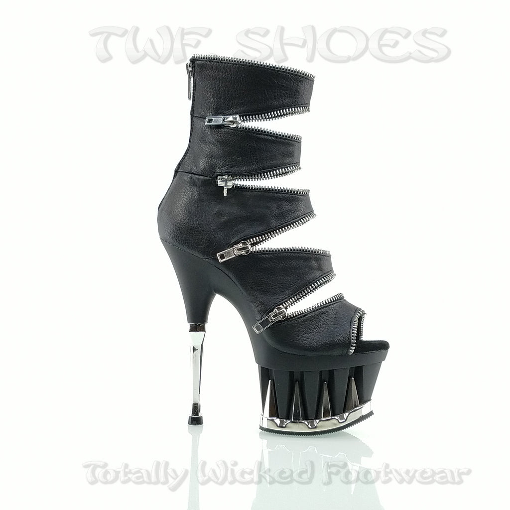 "Spiky 647 Cut Out Zipper Trim 6.5"" Heel Ankle Boots Size 6"