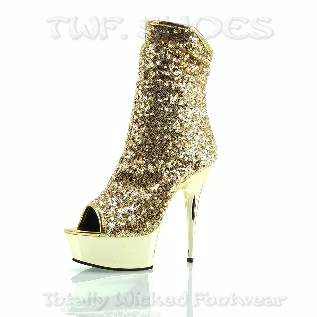 "Delight 1008SQ Gold Sequin Ankle Boot - 6"" High Heels"