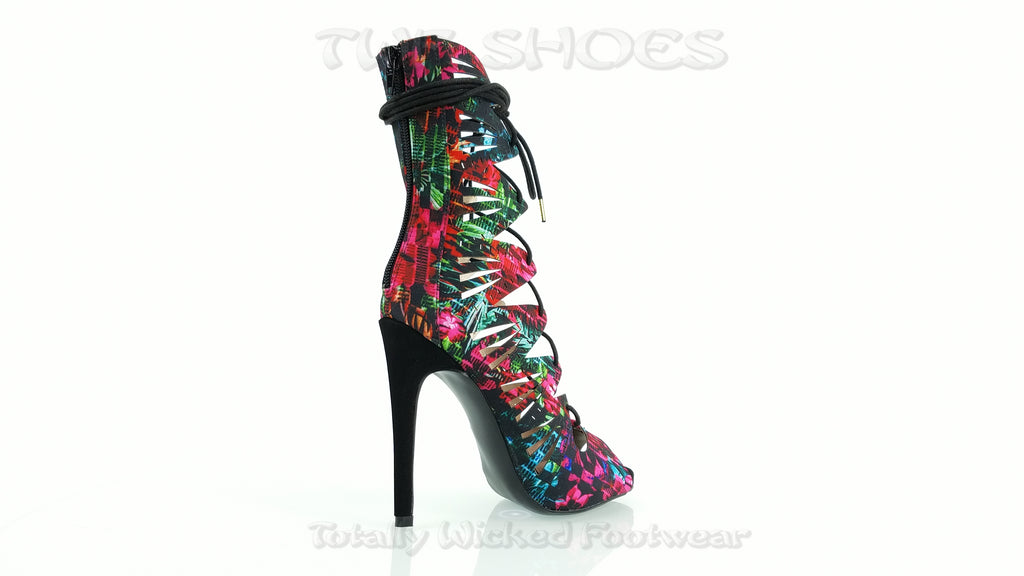 Glee Black Multi Print Open Front Lace Up Strappy High Heel Shoe Boots