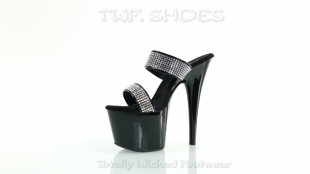 "Adore 702-2 Black Double Band Slide 7"" Heel Rhinestone Detail"