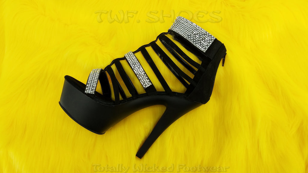 "Kiss 294 Black Nubuck Rhinestone Cage Strap 6"" Platform Heel Shoe - Totally Wicked Footwear"