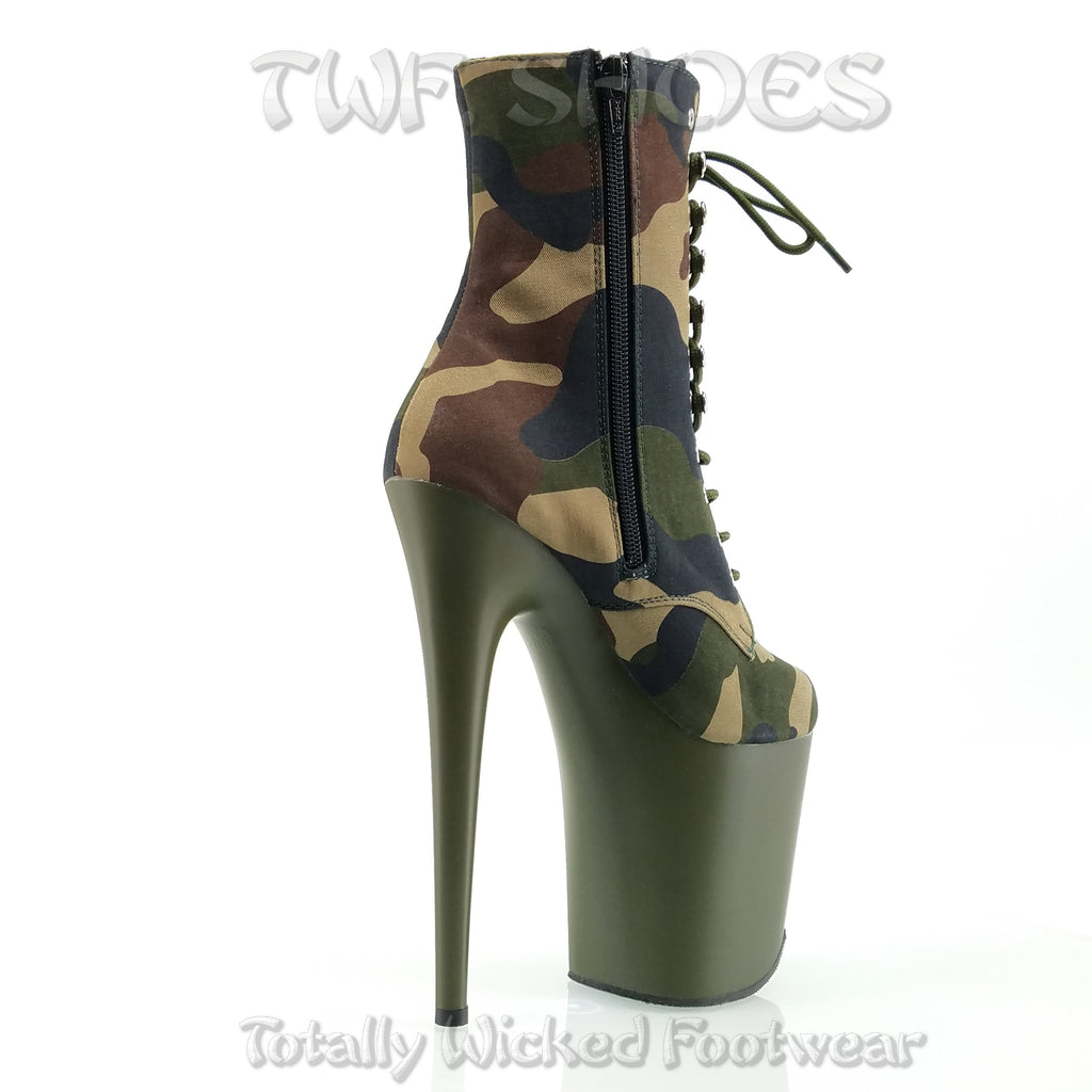"Flamingo 1020 Olive Camo Platform - 8"" High Heel Ankle Boot"