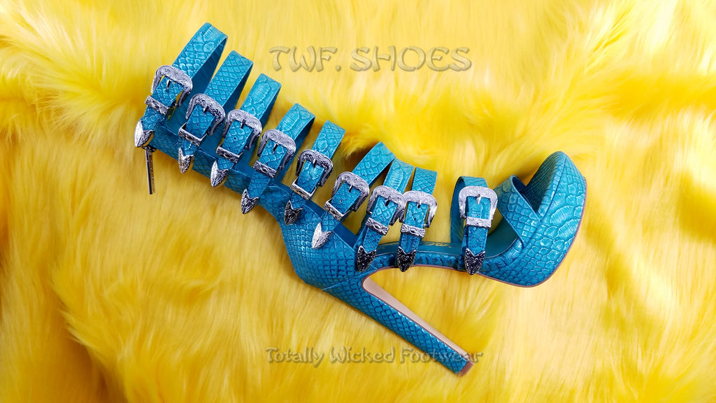 Nelly Bernal New Design IN Stock NOW Draco Multi Strap High Heels Shoes Teal