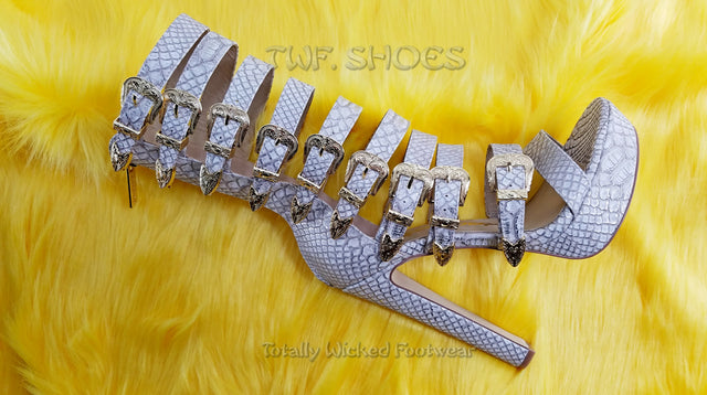 Nelly Bernal IN Stock NOW Draco Multi Strap High Heels Shoes Champagne Lizard