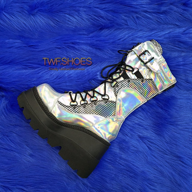 Shaker 70 Silver Platform Cyber Boots