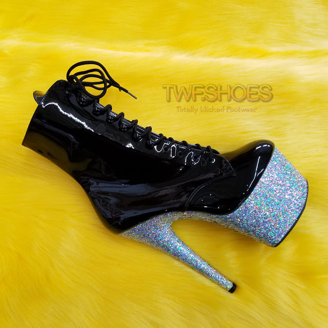 "Adore 1020LG  Black Patent Silver Glitter Platform Ankle Boot 7""High Heels - Totally Wicked Footwear"