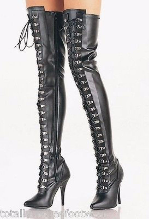 "Seduce 3024 5"" D-Ring Lace Up Stretch Thigh Crotch Boot 6 -16 Domina Boots"