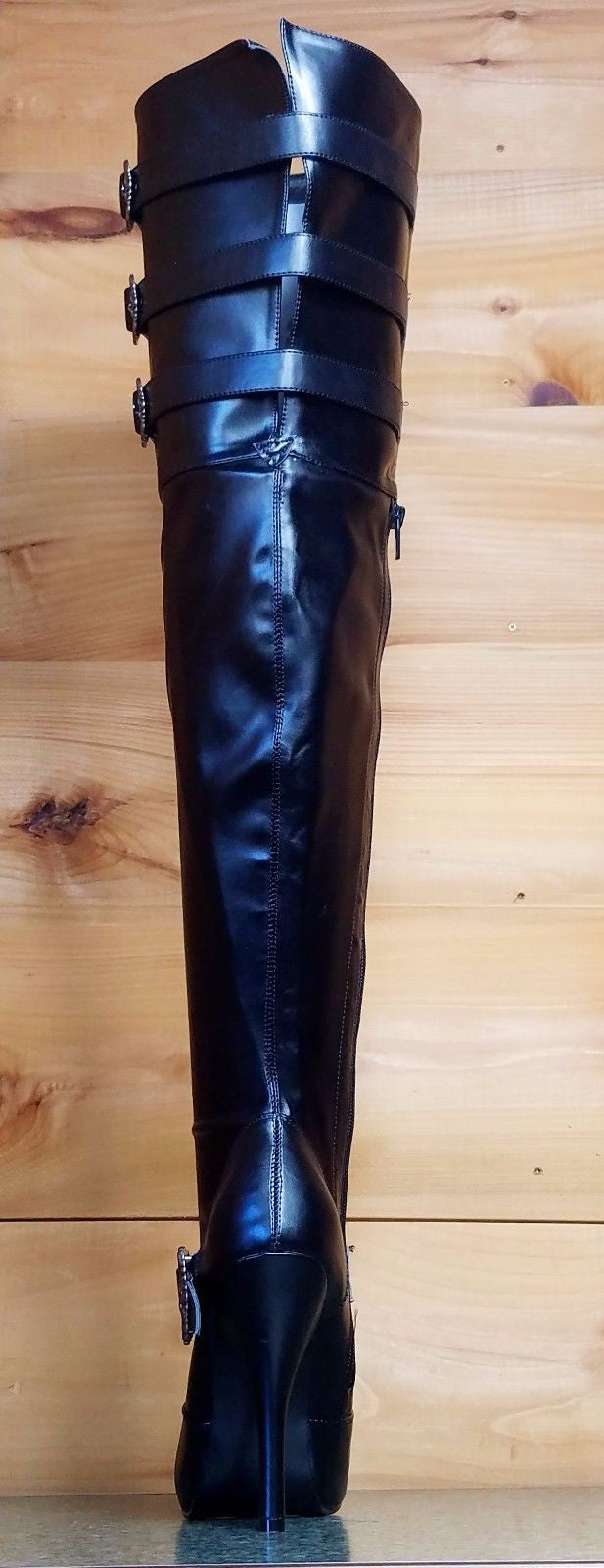 Diva Thigh High Plus Size Wide Top Shaft Boots Black Leatherette 7-13