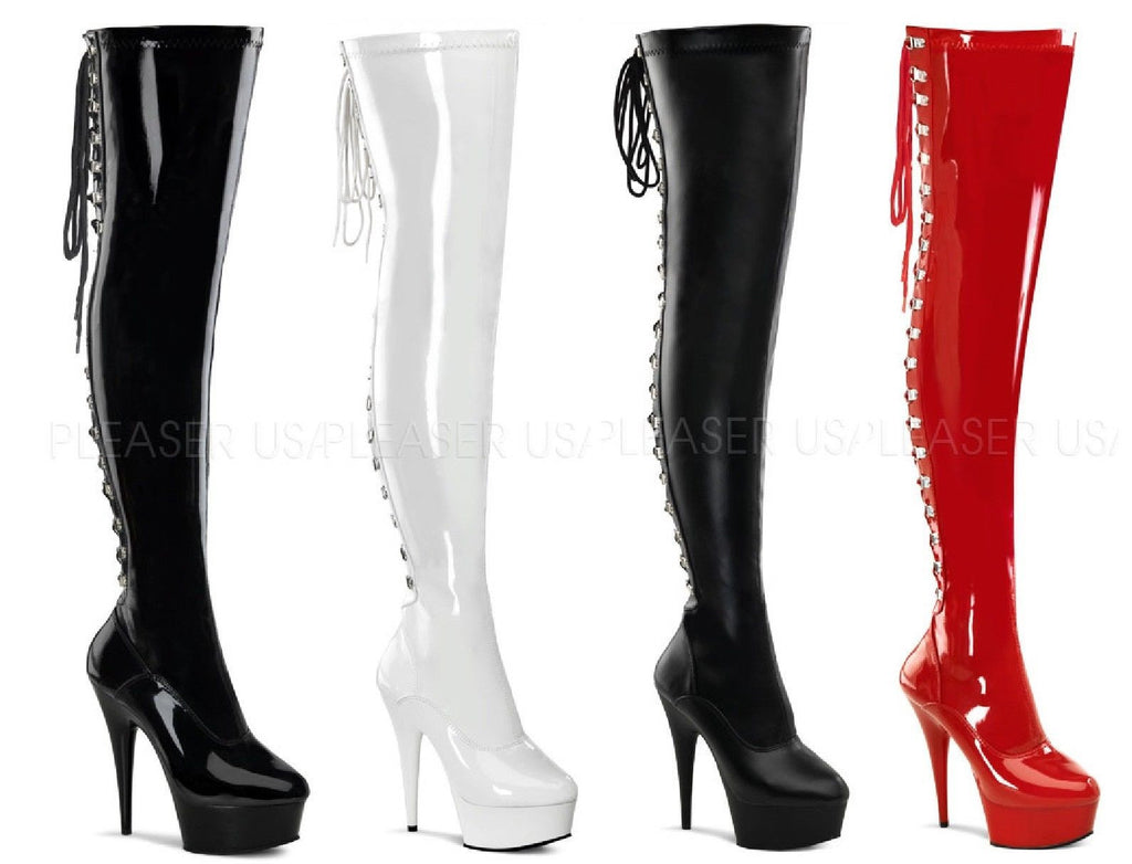 "Delight 3063 Back Lace Thigh High Platform Boots 6"" Heel Red Black White 6-14"