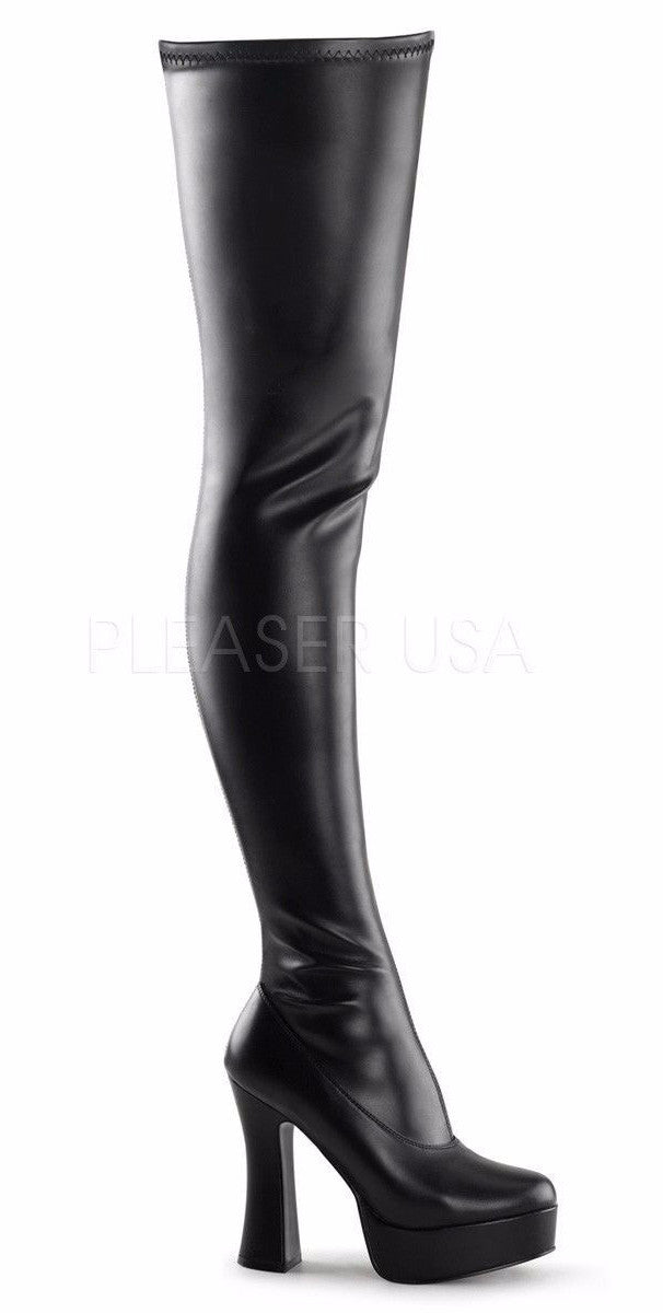 "Electra 3000z Smooth Thigh High Platform Boots Chunky Stack 5"" Heel 6-16"