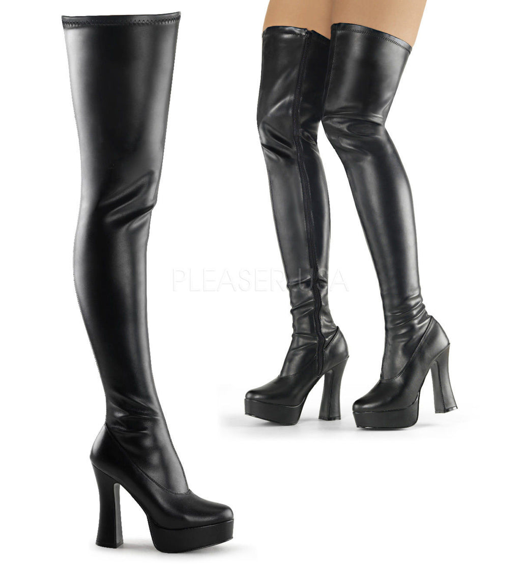 "Electra 3000z Smooth Thigh High Platform Boots Chunky Stack 5"" Heel 6-16 - Totally Wicked Footwear"