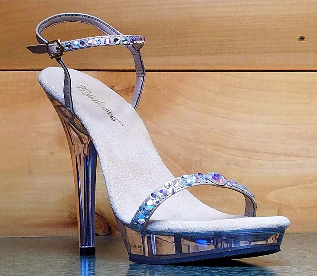 "Lip 131 Taupe Jeweled Strap Clear Platform Evening Sandal 5"" Heel Size 10 & 8"