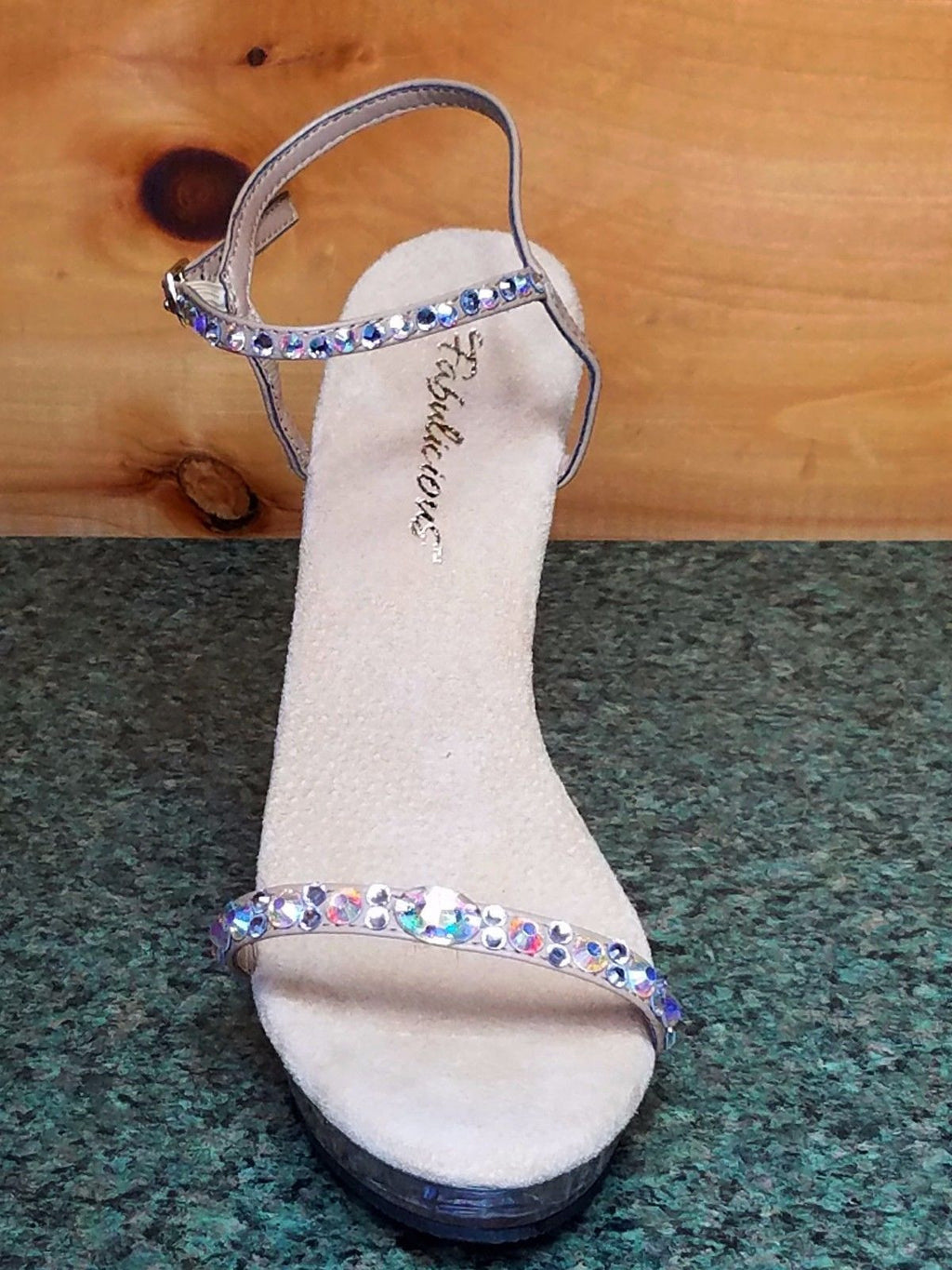 "Lip 131 Taupe Jeweled Strap Clear Platform Evening Sandal 5"" Heel Size 10 & 8 - Totally Wicked Footwear"