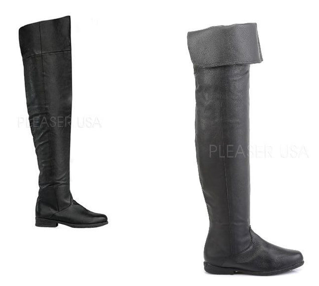 Maverick Black Leather Thigh High Pull On Pirate Flat Boot Men US Sizes 8 - 14