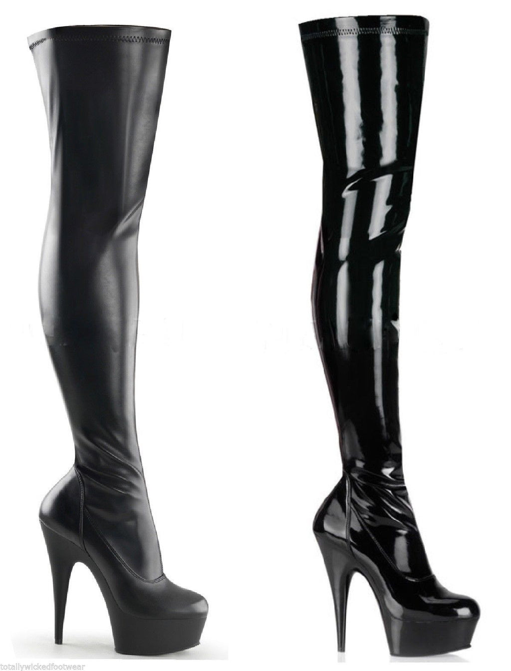 Delight 3000 Stretch Thigh Boot Black Matte Or Patent 6-14 Platform Boots