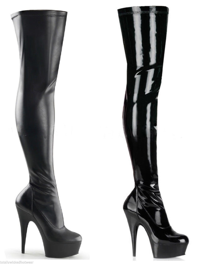 Delight 3000 Stretch Thigh Boot Black Matte Or Patent 6-14 Platform Boots - Totally Wicked Footwear