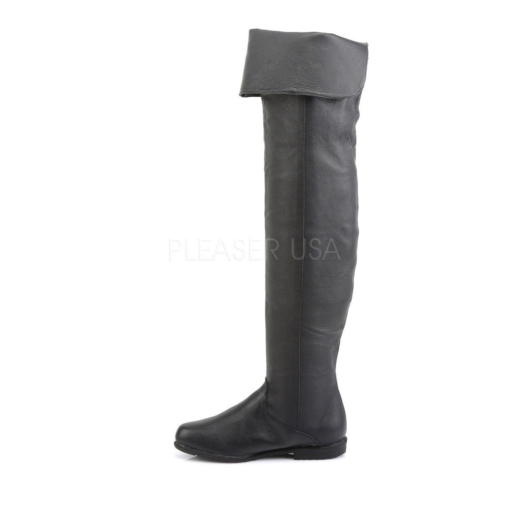 Maverick Black Leather Thigh High Pull On  Boot Men US Sizes 8 - 14