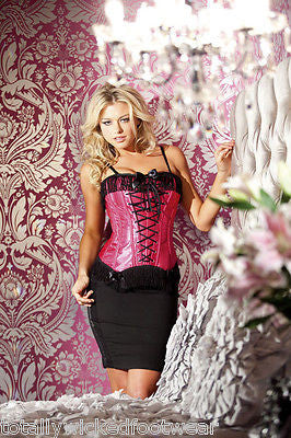 BE WICKED Fuchsia Pink Lace Eye Hook Boned Corset Size 36 Fringe Details Sexy