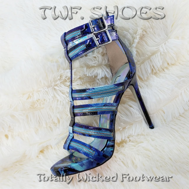 Luichiny Tone It Blue Abstract Floral Multi Zipper Strap Stiletto Heel Shoe