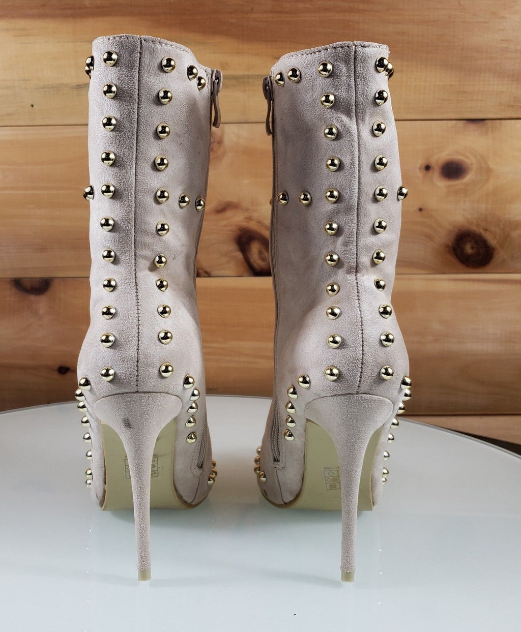 Top Show Nude Cream Vegan Suede Pointy Toe High Heel Gold Studded Ankle Boots