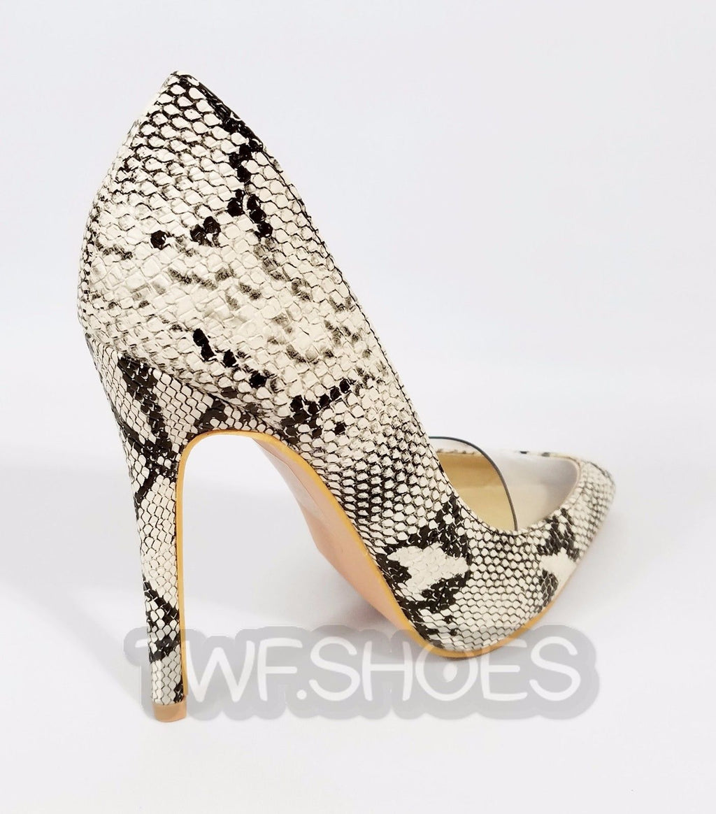 So Me Textured Beige Snake Lucite Pointy Toe Single Sole Pump High Heel Shoe