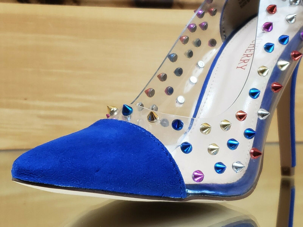 "Ricky Clear Blue Multi Color Spike Stud Pointy Toe Pump Shoe 4.5"" High Heels"